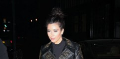 Kim Kardashian Steps Out Rocking Versace for H&M Black Studded Gold Leather Trench Coat Jacket