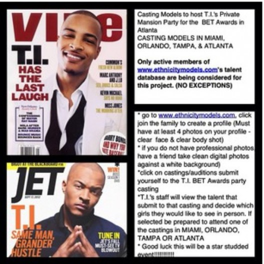 CASTING CALL: Models To Host @Tip Private Mansion Party For BET Awards In Atlanta