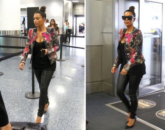 Travel In Style: Kim Kardashian Spotted Rockin' Balmain Floral Printed Jacket