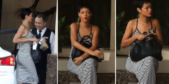 Rihanna Spotted Chillin' In Stripes x Converse