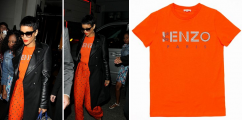 Rockin! or Not....: Rihanna Spotted In London Rocking Kenzo Tiger Logo Tee & Printed Casual Pants