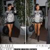 Rihanna Spotted Rockin' A Printed Sweater x Cutoffs