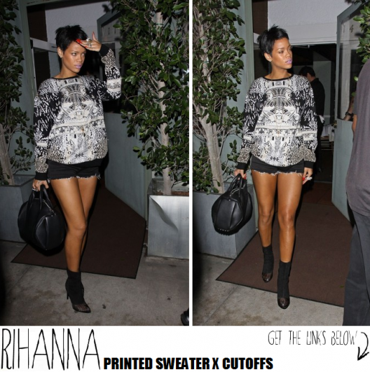 Rihanna Spotted Rockin' A Printed Sweater x Cutoffs