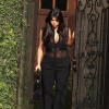 Mommy-To-Be Kim Kardashian Keeps It Sexy Yet Chic Rockin Her Faith Connexion Sheer Overall Jumpsuit