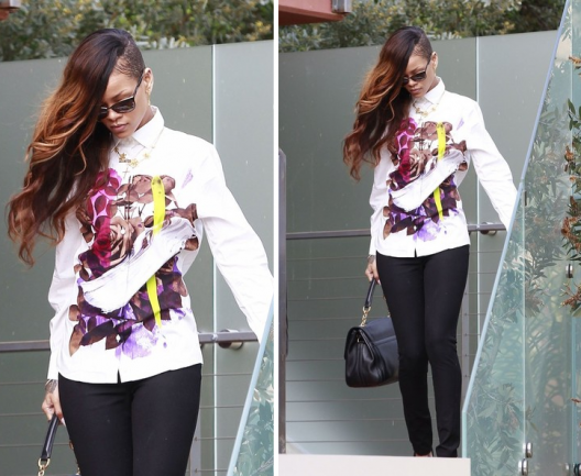 STYLE MOTIVATION: Rihanna in Christopher Kane Floral Print Blouse