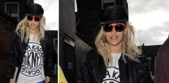 Rita Ora Spotted In London Rockin' DKNY x Open Ceremony Tee