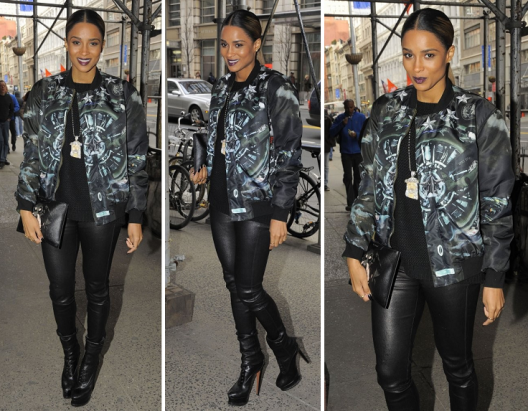 Ciara Spotted In Givenchy Jacket x Leather
