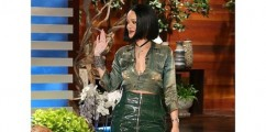 Rihanna Stops By The Ellen DeGeneres Show Slaying In A Hawt Alexandre Vauthier Mini Skirt & Orange Python Christian Louboutin So Kate Pumps